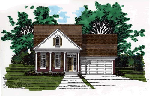 Narrow Lot, One-Story, Traditional House Plan 67623 with 3 Beds, 2 Baths, 1 Car Garage Elevation