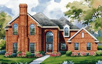 European House Plan 67851 with 4 Beds, 4 Baths, 4 Car Garage Elevation