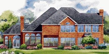 European House Plan 67851 with 4 Beds, 4 Baths, 4 Car Garage Rear Elevation