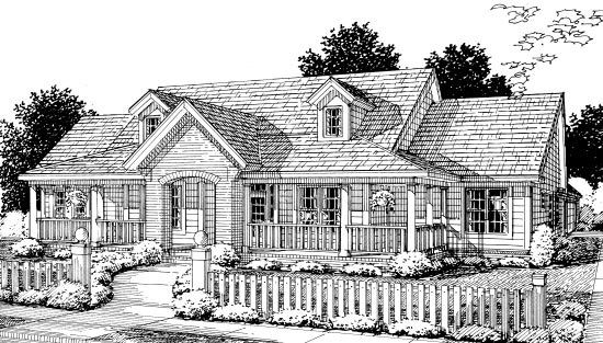 Country, Southern House Plan 67882 with 3 Beds, 3 Baths, 2 Car Garage Front Elevation