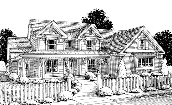 Country House Plan 67883 with 4 Beds, 3 Baths, 2 Car Garage Elevation