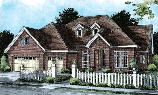 European House Plan 67884 with 4 Beds, 3 Baths, 3 Car Garage Elevation