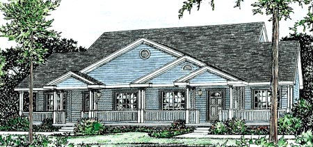 Country, Traditional Multi-Family Plan 68094 with 4 Beds, 4 Baths, 4 Car Garage Elevation