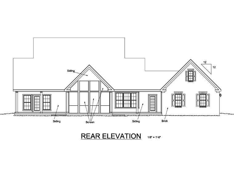 Country, Farmhouse House Plan 68162 with 4 Beds, 3 Baths, 2 Car Garage Rear Elevation