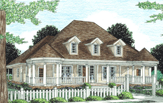 Country, Farmhouse, Southern, Victorian House Plan 68163 with 4 Beds, 3 Baths, 2 Car Garage Elevation