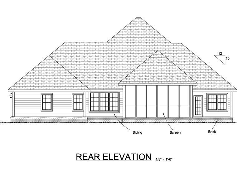 Country, Farmhouse, Southern, Victorian House Plan 68163 with 4 Beds, 3 Baths, 2 Car Garage Rear Elevation