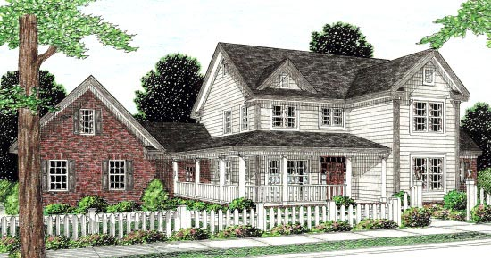 Country, Farmhouse, Southern House Plan 68168 with 3 Beds, 3 Baths, 2 Car Garage Elevation