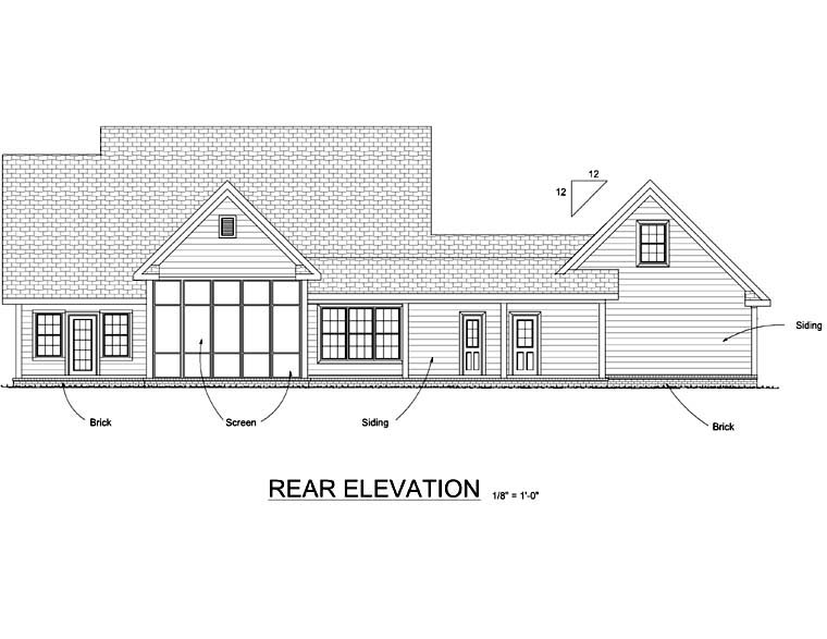 Country, Farmhouse, Southern House Plan 68168 with 3 Beds, 3 Baths, 2 Car Garage Rear Elevation