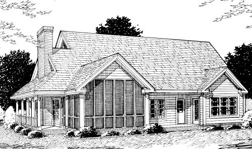 Country, Farmhouse, Southern House Plan 68176 with 4 Beds, 4 Baths, 2 Car Garage Rear Elevation