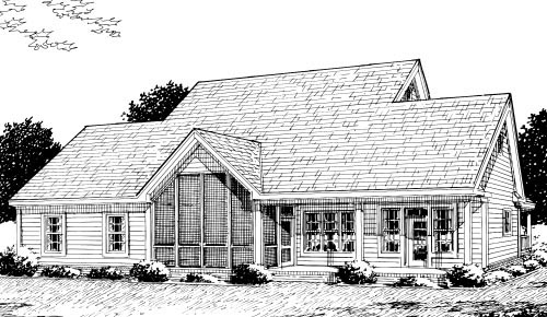 Country, Farmhouse House Plan 68178 with 3 Beds, 3 Baths, 2 Car Garage Rear Elevation