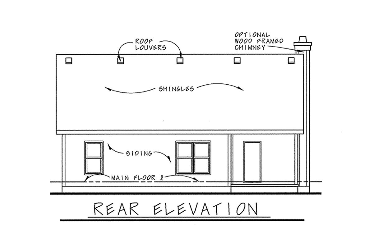 Craftsman House Plan 68231 with 3 Beds, 2 Baths, 2 Car Garage Rear Elevation