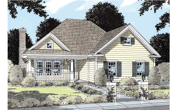 Traditional House Plan 68232 with 3 Beds, 2 Baths, 2 Car Garage Elevation