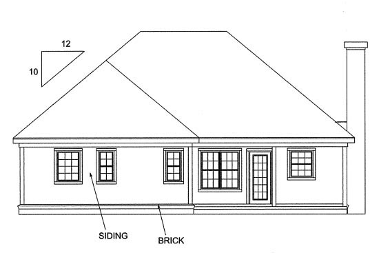 Traditional House Plan 68232 with 3 Beds, 2 Baths, 2 Car Garage Rear Elevation