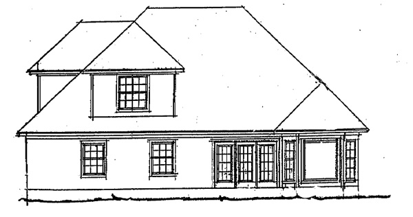 European, Traditional House Plan 68236 with 3 Beds, 3 Baths, 2 Car Garage Rear Elevation