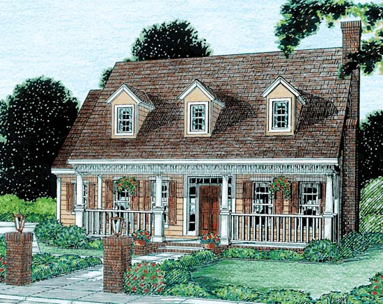 Cape Cod, Country, Southern House Plan 68341 with 3 Beds, 3 Baths, 2 Car Garage Front Elevation