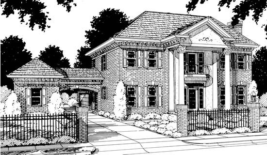 Colonial, Southern House Plan 68349 with 4 Beds, 3 Baths, 3 Car Garage Front Elevation
