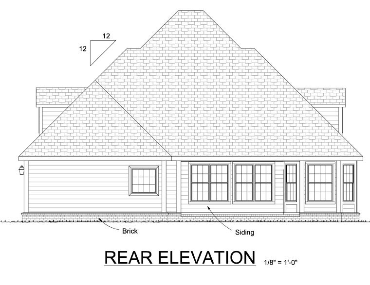 Colonial, French Country House Plan 68465 with 4 Beds, 3 Baths, 2 Car Garage Rear Elevation