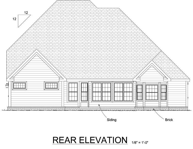 European, Traditional House Plan 68467 with 4 Beds, 5 Baths, 3 Car Garage Rear Elevation