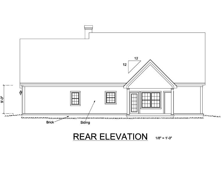 Country, Southern House Plan 68475 with 3 Beds, 3 Baths, 2 Car Garage Rear Elevation