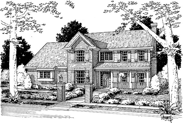 Country, Farmhouse House Plan 68486 with 4 Beds, 3 Baths, 2 Car Garage Elevation