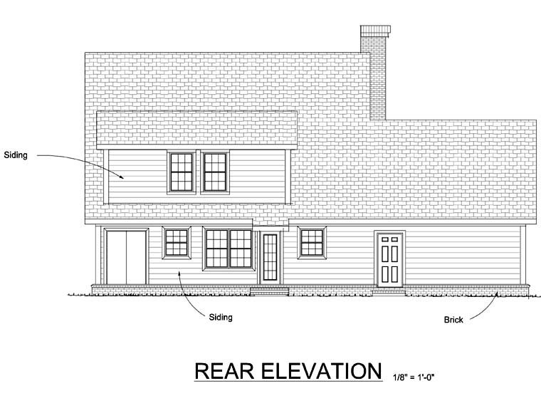 Traditional House Plan 68489 with 4 Beds, 3 Baths, 2 Car Garage Rear Elevation