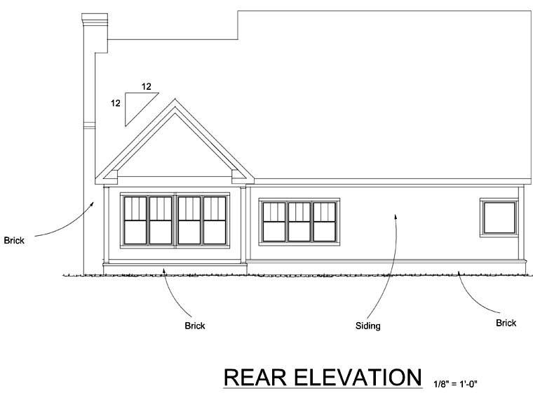 Farmhouse House Plan 68491 with 4 Beds, 4 Baths, 2 Car Garage Rear Elevation