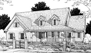 Cape Cod, Country House Plan 68504 with 4 Beds, 4 Baths, 3 Car Garage Elevation