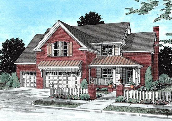 Traditional House Plan 68512 with 4 Beds, 3 Baths, 3 Car Garage Elevation