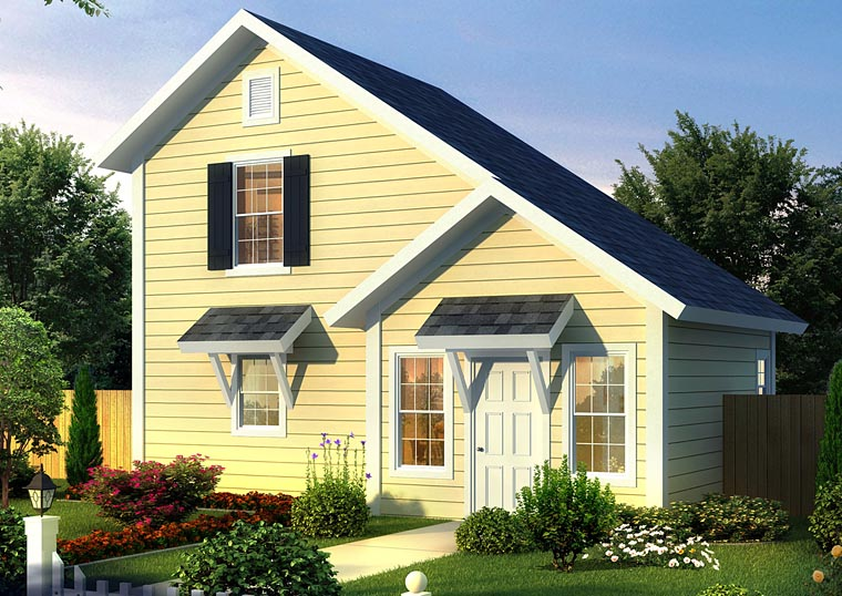Contemporary, Traditional House Plan 68570 with 1 Beds, 2 Baths Front Elevation