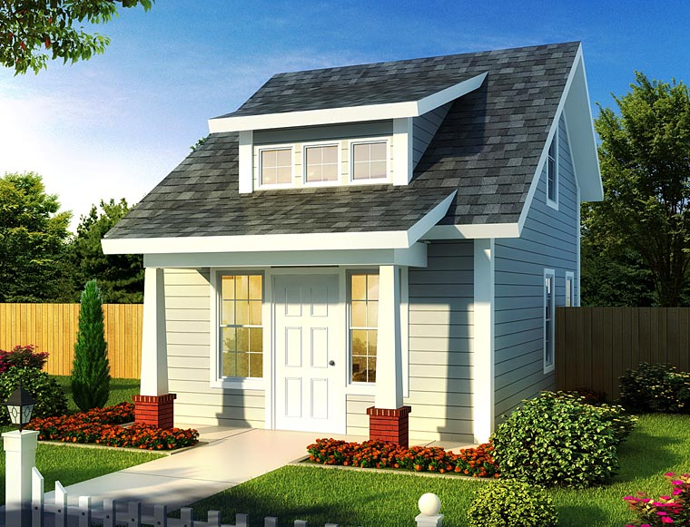 Contemporary, Cottage House Plan 68573 with 1 Beds, 1 Baths Front Elevation