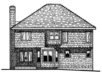 Colonial House Plan 68675 with 4 Beds, 3 Baths Rear Elevation