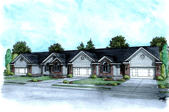 Ranch, Traditional Multi-Family Plan 68719 with 6 Beds, 6 Baths, 6 Car Garage Elevation