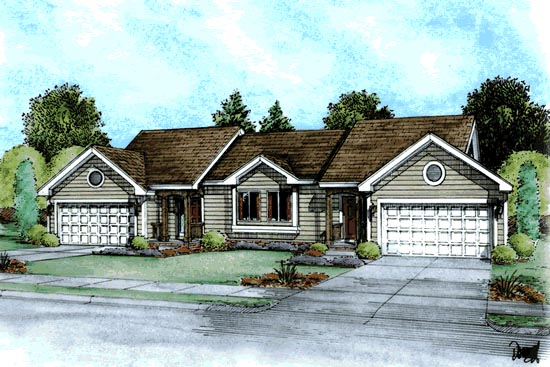 Ranch, Traditional Multi-Family Plan 68721 with 4 Beds, 4 Baths, 4 Car Garage Elevation