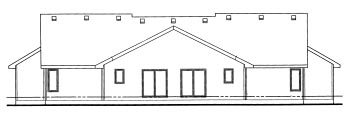 Ranch, Traditional Multi-Family Plan 68721 with 4 Beds, 4 Baths, 4 Car Garage Rear Elevation