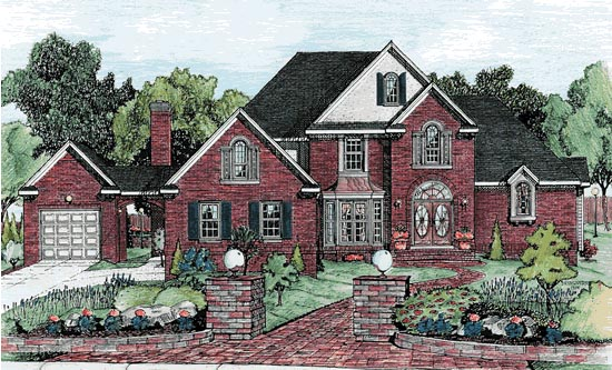 Traditional House Plan 68791 with 4 Beds, 4 Baths, 3 Car Garage Front Elevation
