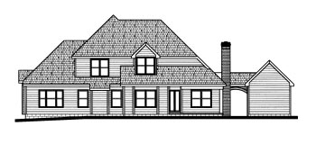 Traditional House Plan 68791 with 4 Beds, 4 Baths, 3 Car Garage Rear Elevation