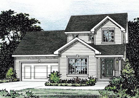 Traditional House Plan 68845 with 3 Beds, 3 Baths, 2 Car Garage Elevation