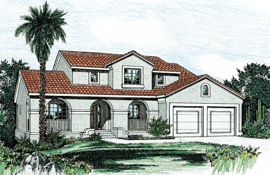 Mediterranean House Plan 68863 with 4 Beds, 3 Baths, 2 Car Garage Elevation