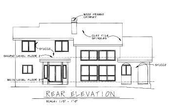 Mediterranean House Plan 68863 with 4 Beds, 3 Baths, 2 Car Garage Rear Elevation