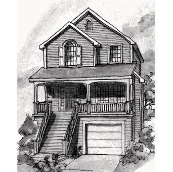 Coastal, Narrow Lot House Plan 68864 with 3 Beds, 3 Baths, 1 Car Garage Elevation