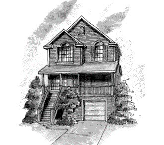Country, Narrow Lot House Plan 68866 with 3 Beds, 3 Baths, 1 Car Garage Elevation