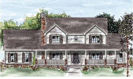 Country, Farmhouse House Plan 68880 with 4 Beds, 4 Baths, 2 Car Garage Front Elevation