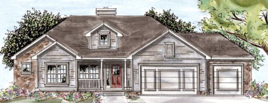 Traditional House Plan 68896 with 3 Beds, 3 Baths, 3 Car Garage Elevation