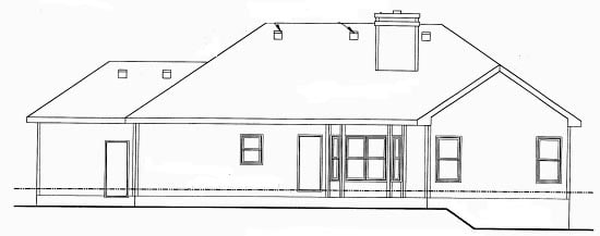 Traditional House Plan 68896 with 3 Beds, 3 Baths, 3 Car Garage Rear Elevation