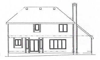 Traditional House Plan 68942 with 4 Beds, 3 Baths, 2 Car Garage Rear Elevation