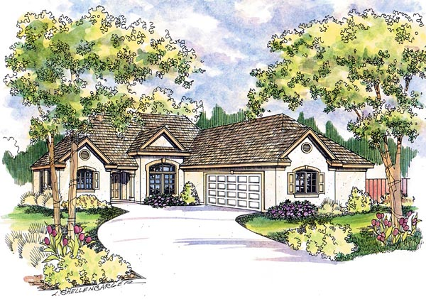 European, Florida, Mediterranean, One-Story, Ranch House Plan 69145 with 3 Beds, 2 Baths, 2 Car Garage Elevation