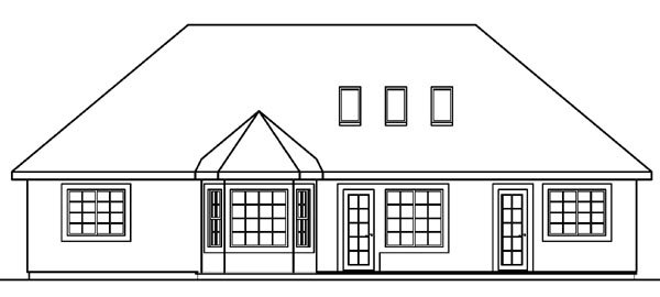 European, Florida, Mediterranean, One-Story, Ranch House Plan 69145 with 3 Beds, 2 Baths, 2 Car Garage Rear Elevation