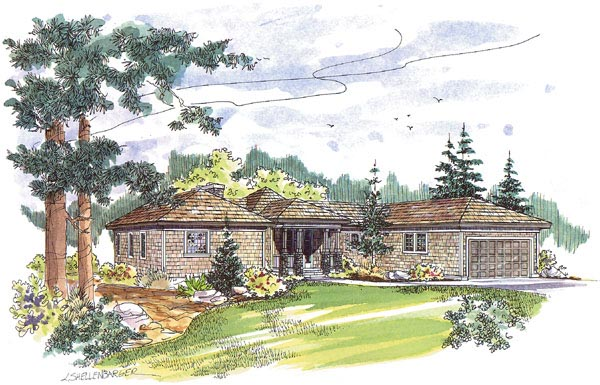 Contemporary, Craftsman, One-Story, Ranch House Plan 69230 with 3 Beds, 2 Baths, 2 Car Garage Front Elevation