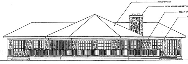 Contemporary, Craftsman, One-Story, Ranch House Plan 69230 with 3 Beds, 2 Baths, 2 Car Garage Rear Elevation