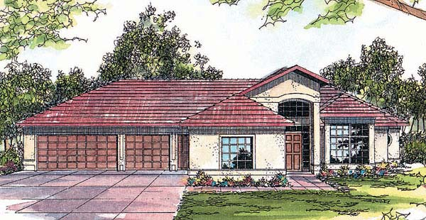 Mediterranean, One-Story House Plan 69241 with 3 Beds, 2.5 Baths, 3 Car Garage Elevation